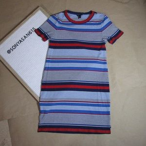 Tommy Hilfiger Red White Blue Striped Ribbed Knit